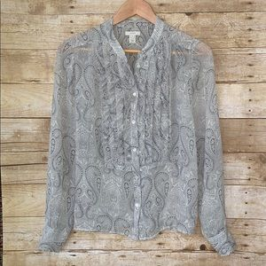 J. Crew shirt paisley silk semi shirt blouse 6
